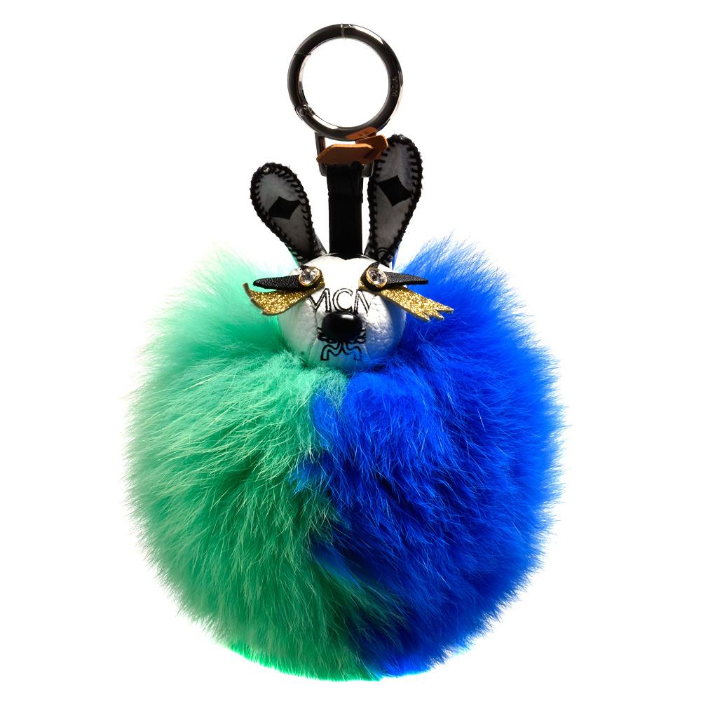 MCM PUNK RABBIT兔子造型塗層帆布狐狸毛球鑰匙圈/吊飾(綠X藍)