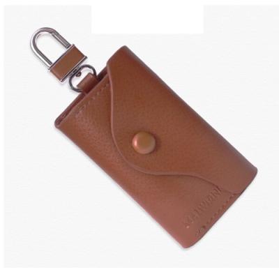 PUSH!男士零錢鑰匙包英倫風皮夾頭層牛皮零錢包精品生日禮物PUSH04棕色