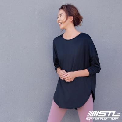 STL yoga LYNING LS 韓國瑜珈 運動機能 落肩加寬長版蓋臀長袖上衣 午夜藍