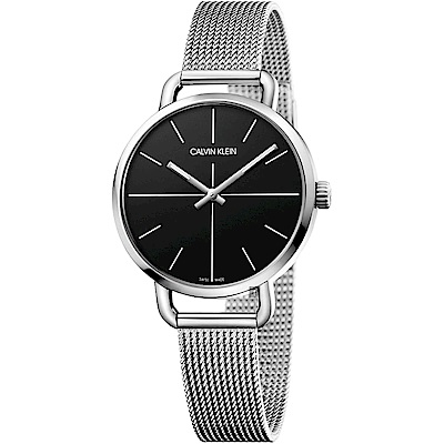 Calvin Klein CK Even 超然系列十字線米蘭帶女錶-黑x銀/36mm