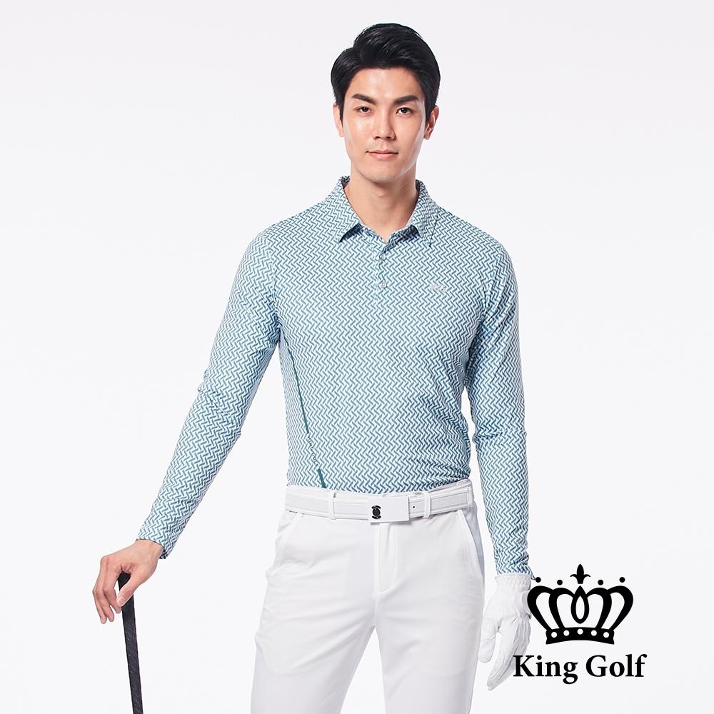【KING GOLF】V字滿版印圖長袖POLO衫-綠色