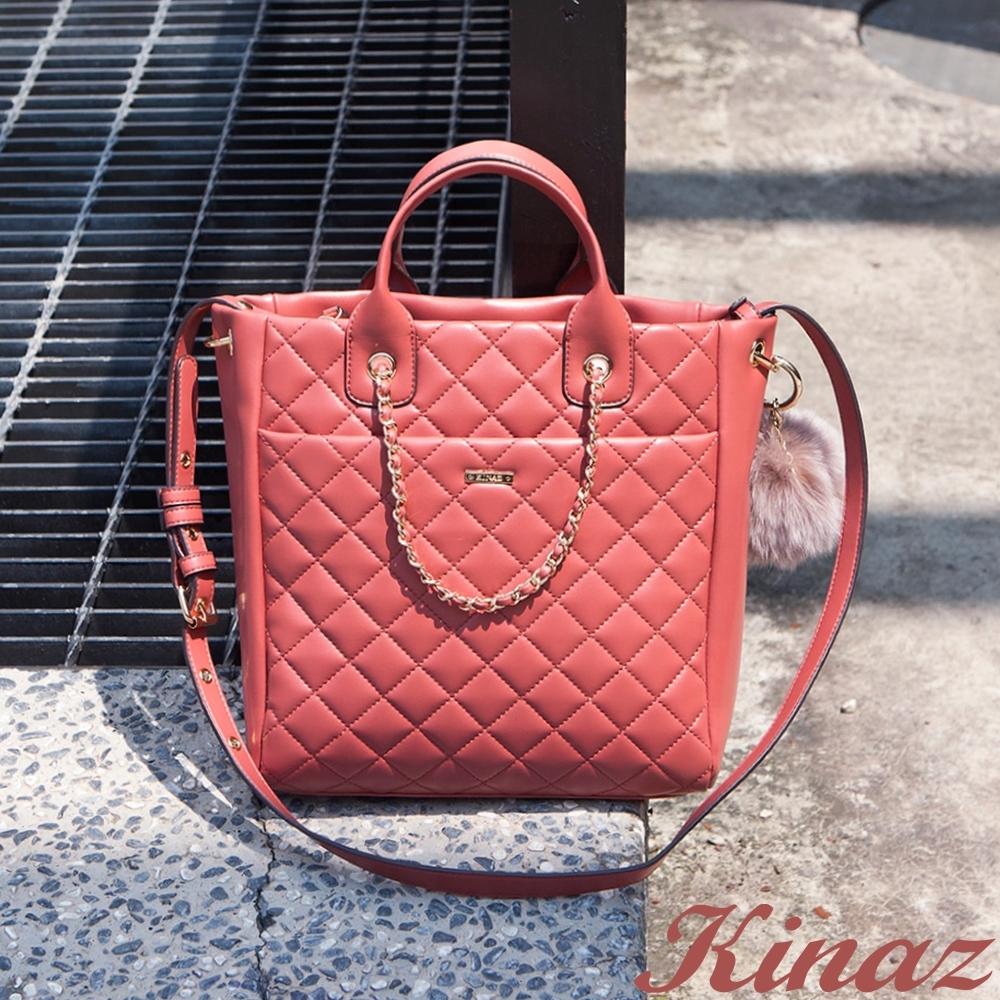 KINAZ 鍊帶肩背菱格斜背方包-甜桃紅唇-龐克女孩系列