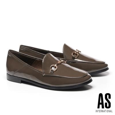 低跟鞋 AS 復刻經典時尚馬銜釦全真皮樂福低跟鞋-灰