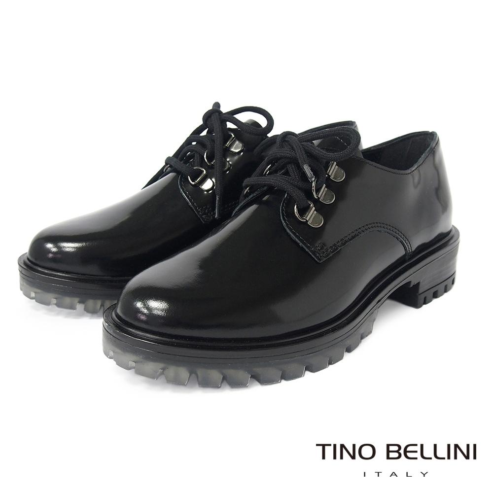 Tino Bellini 義大利進口英倫搖滾綁帶厚底鞋-黑
