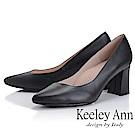 Keeley Ann 簡約美感~都會OL素面尖頭全真皮粗跟鞋(黑色)