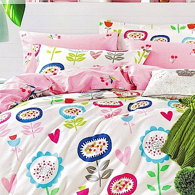 La Lune 百分百精梳純棉40支纱舖棉兩用被雙人床包組-DL-花朵樂園