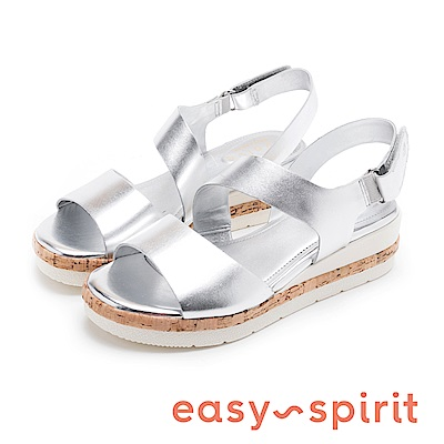 Easy Spirit evKEA-時尚真皮寬帶軟木塞楔型涼鞋-銀色