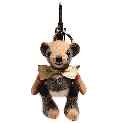 BURBERRY Thomas經典格紋蝴蝶結泰迪熊後背包鑰匙圈/吊飾(駝色)