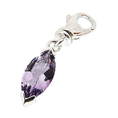 萬寶龍MONTBLANC 壓印LOGO橢圓設計紫寶石鑲飾吊飾(銀)