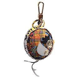 BURBERRY Thomas經典格紋小雞造型釦子/鉚釘裝飾鑰匙圈/吊飾(黃X多彩)