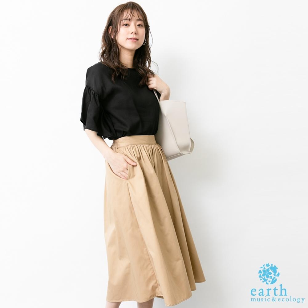 earth music 【SET ITEM】荷葉寬袖上衣+基本款素面寬褲裙