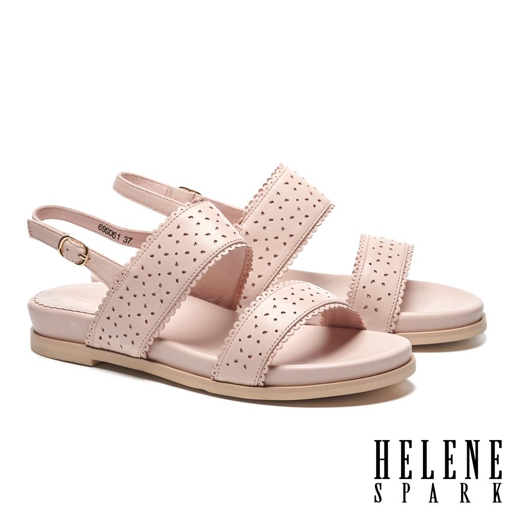 涼鞋 HELENE SPARK 氣質百搭一字沖孔楔型低跟涼鞋-粉