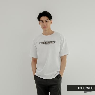 H:CONNECT 韓國品牌 男裝-We Believe 點描圖印T恤-白