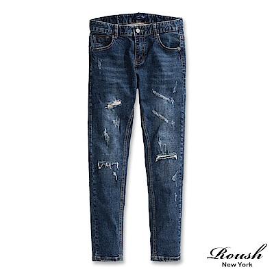 Roush 刷破補丁窄管牛仔褲