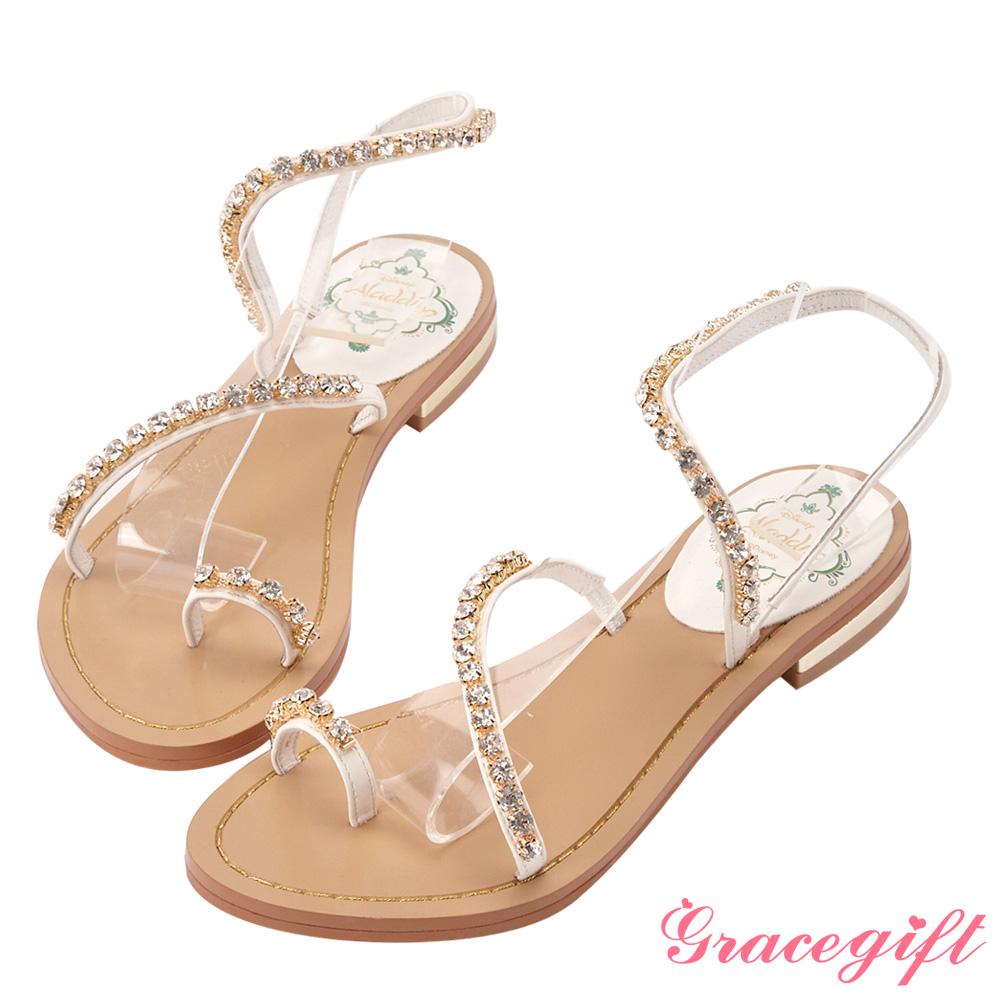 Disney collection by gracegift茉莉鑽飾斜帶平底涼鞋 白