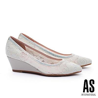 高跟鞋 AS 浪漫優雅蕾絲網布尖頭楔型高跟鞋-米