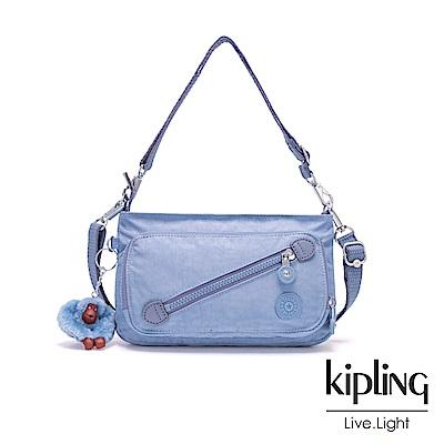 Kipling 溫柔粉藍斜拉鍊肩背包-MILOS