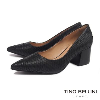 Tino Bellini 巴西進口立體觸感牛皮高跟鞋 _黑