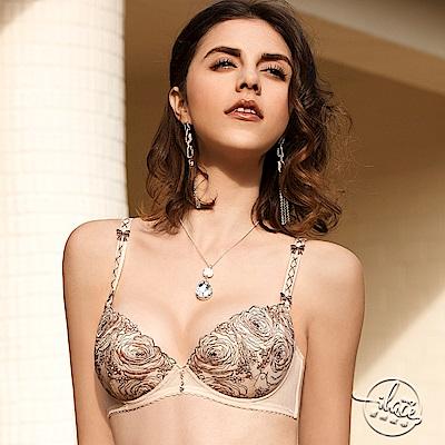 LADY 玫瑰圓舞曲系列 刺繡深線內衣 B-F罩(亮金膚)