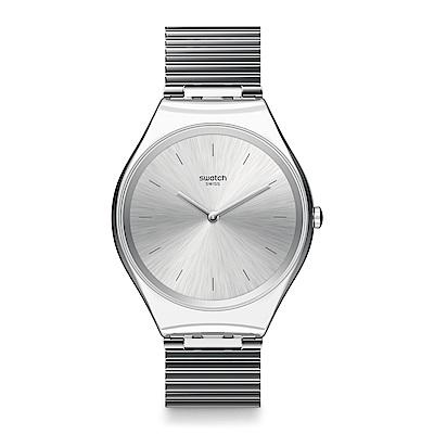 Swatch 超薄金屬系列 SKINPOLE 極光銀手錶