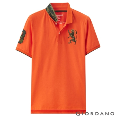 GIORDANO 男裝勝利獅王刺繡迷彩彈力萊卡POLO衫 -16 錦鯉橙色