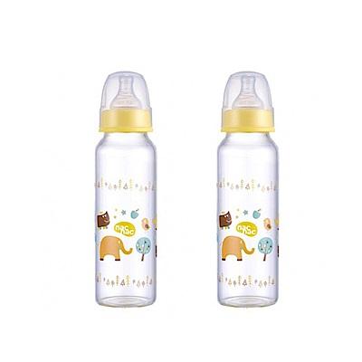 【麗嬰房】nac nac 好朋友系列(ZOO)-吸吮力學標準輕量耐熱玻璃奶瓶 240ml (2入組)