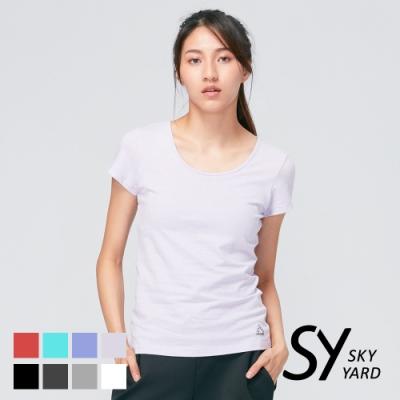 【SKY YARD 天空花園】舒適素色圓領Bra-短T-紫色