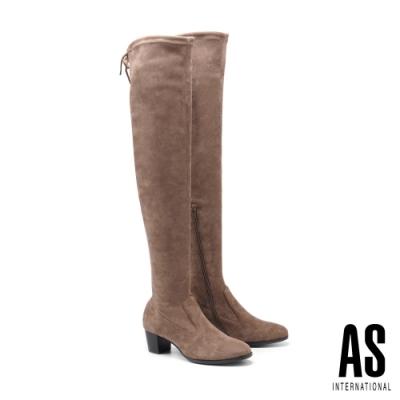 長靴 AS 俐落剪裁純色彈力後綁帶高跟過膝長靴-杏