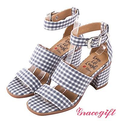 Grace gift X Kerina妞妞-雙寬帶金屬釦繞踝粗跟鞋 灰格