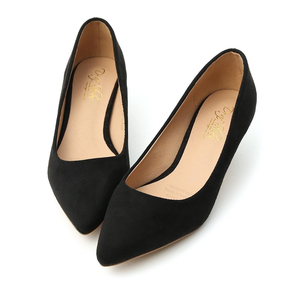 D+AF 典雅秋氛.素面絨料低跟尖頭鞋*黑