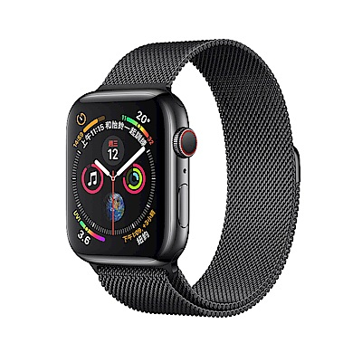 Apple Watch S4 LTE 44mm 太空黑不鏽鋼配太空黑米蘭式錶環