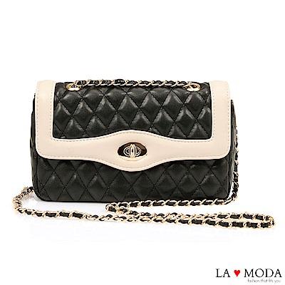 La Moda 約會不敗款經典小香風菱格紋旋釦鍊條小包(黑)