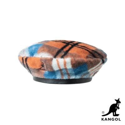 KANGOL-FAUX FUR 貝蕾帽-橘格紋