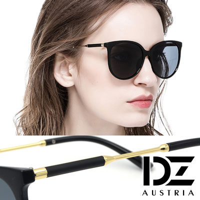 DZ 風尚圓柱腳 抗UV 防曬太陽眼鏡造型墨鏡(黑框灰片)