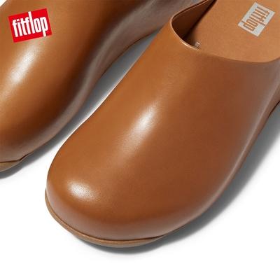 【FitFlop】Shuv Leather 經典舒適木屐鞋穆勒鞋-女(淺褐色)