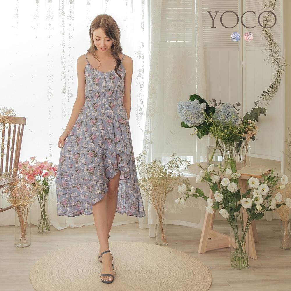 東京著衣-YOCO 浪漫女神細肩帶V領碎花不規則洋裝-S.M.L(共兩色)