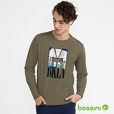 bossini男裝-印花長袖T恤09軍綠色