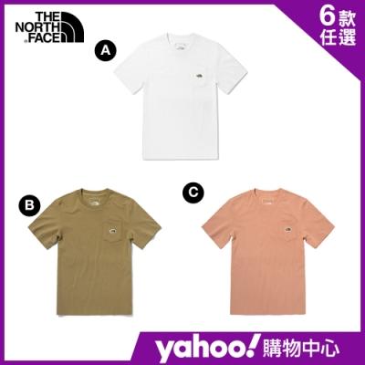 【The North Face】YAHOO限時優惠-春夏男女款簡約休閒短袖T恤-6款任選
