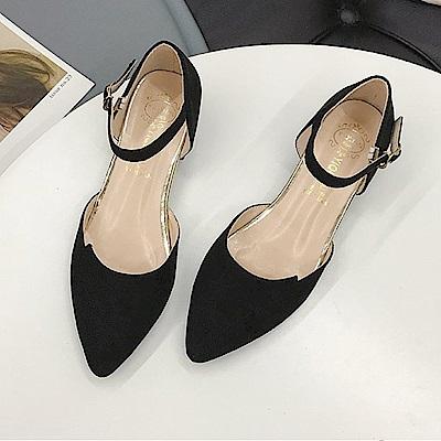 KEITH-WILL時尚鞋館 機能視覺個性羅馬粗跟鞋-黑色