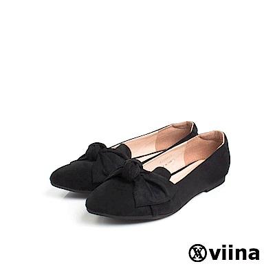 viina Basic羊絨布大蝴蝶結尖頭平底鞋 - 黑