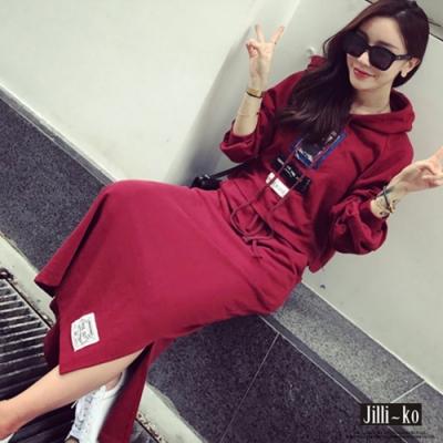 JILLI-KO 歐美圖文燙印連帽上衣兩件式套裝-紅色
