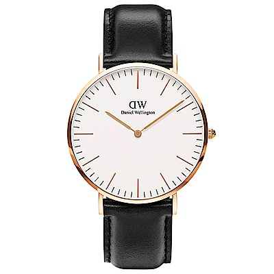DW手錶 官方旗艦店 40mm玫瑰金框 Classic 爵士黑真皮皮革手錶