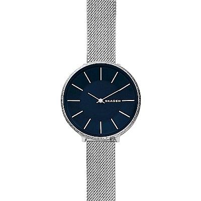 SKAGEN  Karolina 個性輕時尚米蘭帶女錶-藍x銀/38mm