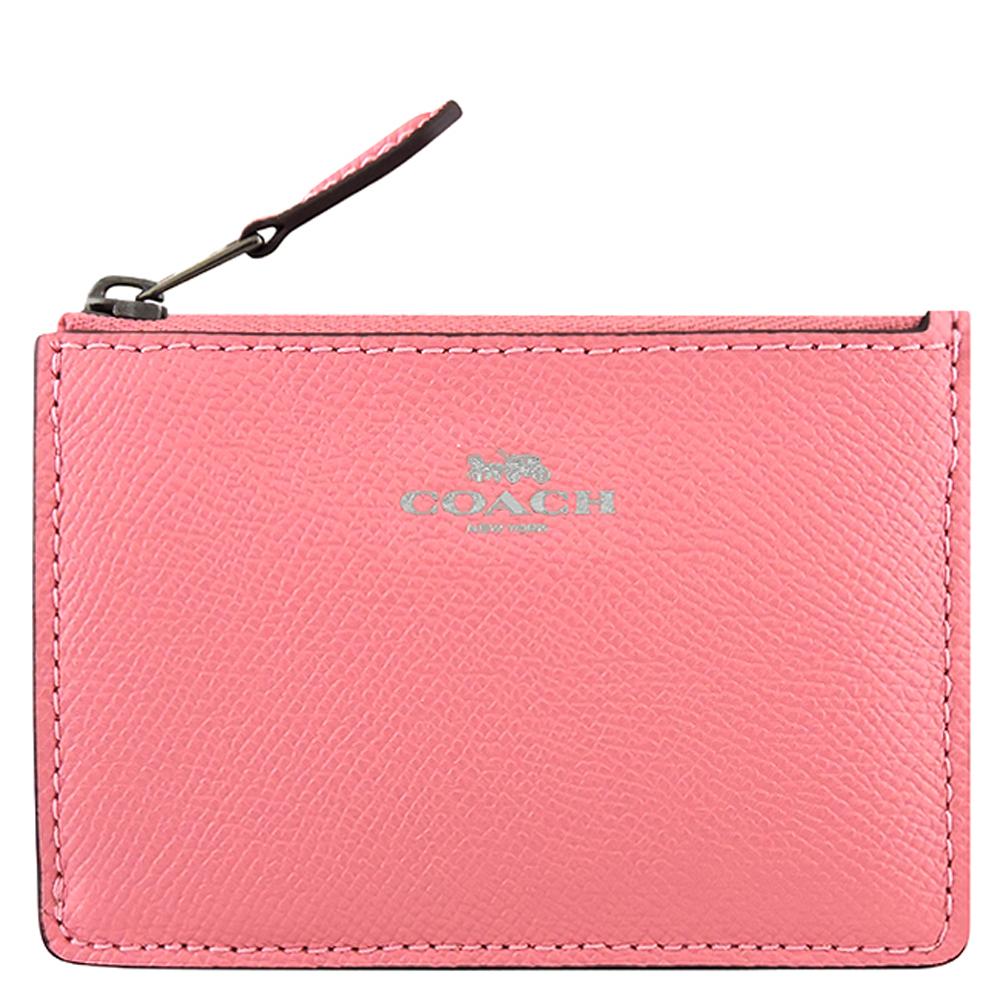 COACH 粉紅色防刮皮革鑰匙零錢包
