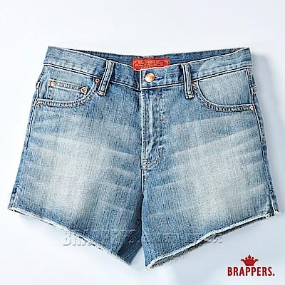 BRAPPERS 女款 Boy friend 系列-褲口斜邊不收邊短褲-淺藍