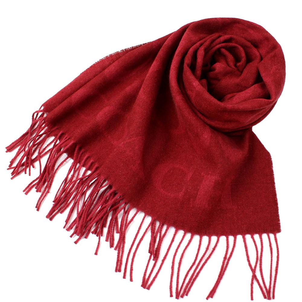 COACH  大C LOGO喀什米爾混羊毛&蠶絲寬版圍巾-聖誕紅COACH