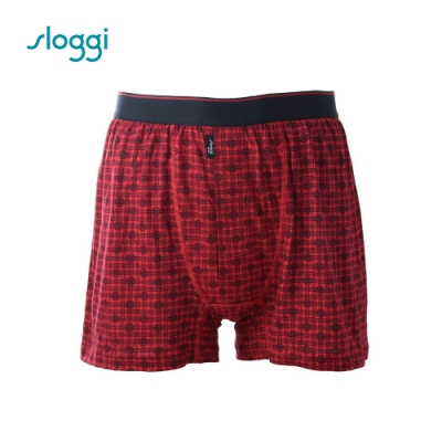 sloggi men Joy系列寬鬆平口褲 紅底藍印花