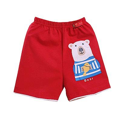 可愛熊印花休閒短褲 紅 k50358 魔法Baby