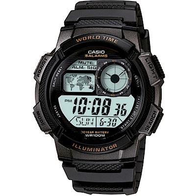 CASIO 雷霆世界戰士運動電子錶-黑框(AE-1000W-1A)/43mm