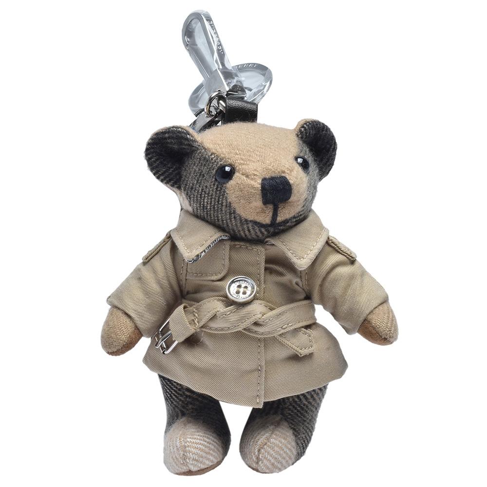 BURBERRY Thomas經典格紋泰迪熊風衣造型鑰匙圈/吊飾(米)